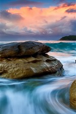 Preview iPhone wallpaper Sea, rocks, clouds, sunset, water stream