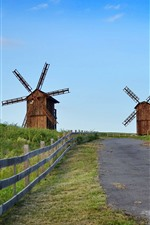 Preview iPhone wallpaper Some windmill, road, fence