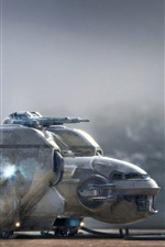 Preview iPhone wallpaper Spaceship, creative picture, landing