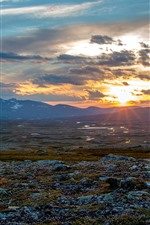Preview iPhone wallpaper Sweden, sunset, mountains, clouds, nature