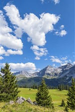 Preview iPhone wallpaper Switzerland, mountains, trees, blue sky, clouds, nature landscape