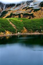 iPhone обои Тояма, горы, озеро, Япония