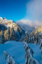 Vancouver, Neve, Montanhas, Nuvens, Inverno, Canadá