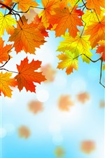 Preview iPhone wallpaper Vector design, yellow and red maple leaves, autumn