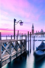 Preview iPhone wallpaper Venice, gondola, boats, river, sunset, Italy