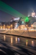 Vilnius, Litauen, Bäume, Nacht, Schnee, Häuser, Licht