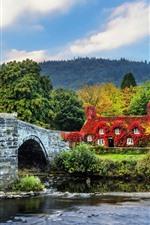 Preview iPhone wallpaper Wales, Llanrwst, bridge, house, trees, river, England