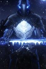 iPhone обои Воин, шлем, броня, меч, звезды, творческий дизайн