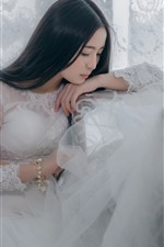 Preview iPhone wallpaper White skirt Asian girl, bride, thinking