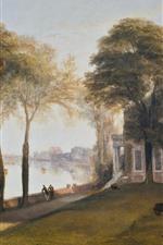 iPhone обои Уильям Тернер, раннее летнее утро, деревья, река, живопись