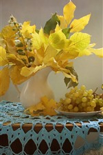 Preview iPhone wallpaper Yellow maple leaves, grapes, fruit