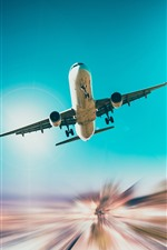 Preview iPhone wallpaper Airplane, flight, sky, bottom view, light lines