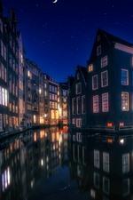 Aperçu iPhone fond d'écranAmsterdam, Pays-Bas, Maisons, lumières, rivière, nuit