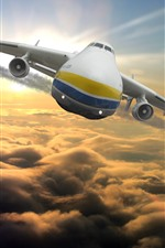 Preview iPhone wallpaper Antonov An-225 plane flight in sky, front view, clouds