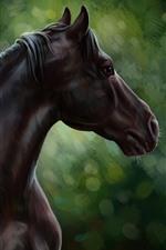 Художественная живопись, коричневая лошадь, зеленый фон