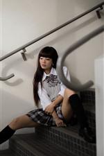 Preview iPhone wallpaper Asian girl, skirt, sadness, ladder