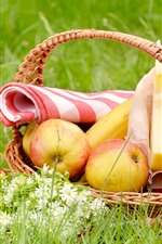 Preview iPhone wallpaper Basket, apples, banana, cheese, grass, flowers