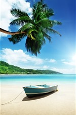 Preview iPhone wallpaper Beach, sea, boat, palm trees, sky, clouds
