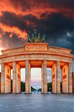Preview iPhone wallpaper Berlin, Brandenburg Gate, Germany, city, clouds, dusk