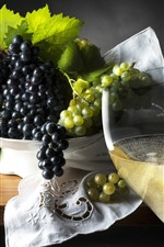 Preview iPhone wallpaper Black and green grapes, wine, fruit, drinks
