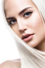 Блондинка, прическа, лицо, глаза, смотреть
