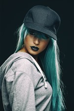 Preview iPhone wallpaper Blue hair girl, hat, makeup, black background