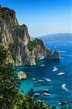 Preview iPhone wallpaper Blue sea, coast, sailboat, boat, trees, rocks