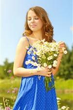 Saia azul menina, flores, sol, verão