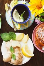Preview iPhone wallpaper Breakfast, bread, tea, flowers, lemon slice