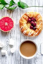 iPhone обои Завтрак, грейпфрут, хлеб, ягоды, кофе