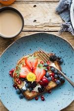 iPhone обои Завтрак, бутерброды, клубника, вишня, ежевика, кофе