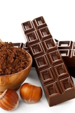 Preview iPhone wallpaper Chocolate, candy, cocoa, powder, hazelnuts, white background