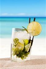 Vorschau des iPhone Hintergrundbilder Cocktail, Mojito, Getränke, Strand, Meer, tropisch