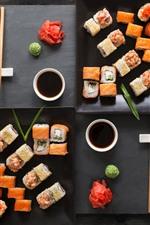 Вкусная японская еда, суши, соус