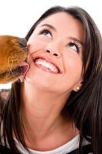 iPhone обои Собака и девушка, счастлива, улыбка