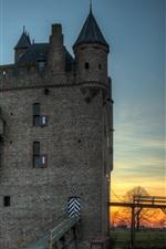 Aperçu iPhone fond d'écranDoornenburg, Pays-Bas, Château, Arbres, Dusk