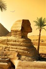 Aperçu iPhone fond d'écranEgypte, Caire, Sphinx, Pyramide, Désert, Palmiers