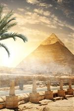 iPhone обои Египет, пирамида, забор, деревья