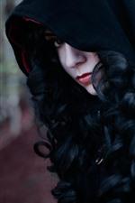 Enchantress, menina, rosto, capuz, cosplay