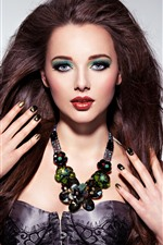 Menina da moda, cabelo preto, maquiagem, decoração