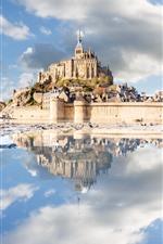 Preview iPhone wallpaper France, Normandy, Mont-Saint-Michel, castle, sea, clouds, water reflection