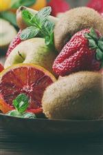Vorschau des iPhone Hintergrundbilder Früchte, Zitrusfrüchte, Kiwi, Erdbeere, Apfel