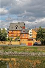 iPhone обои Германия, Лахнштейн, река, дома, город