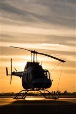 Aperçu iPhone fond d'écranHélicoptère, coucher de soleil, aéroport