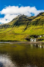 Preview iPhone wallpaper Iceland, lake, waterfall, green, mountains, clouds