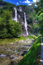 Preview iPhone wallpaper Italy, Lombardy, Sondrio, trees, waterfalls, path