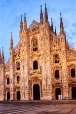 Preview iPhone wallpaper Italy, Milan Cathedral, night, lights, clouds