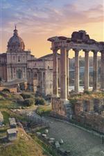 iPhone обои Италия, Рим, Руины, Путешествия, Город, Закат