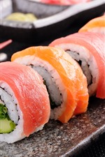 Vorschau des iPhone Hintergrundbilder Japanisches Essen, Sushi-Rollen