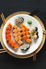 Preview iPhone wallpaper Japanese food, sushi, wasabi, black background